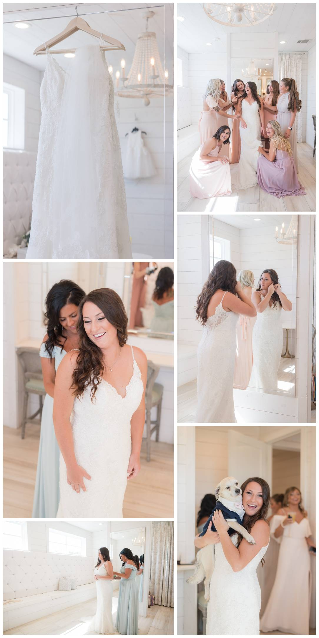 Bridesmaids help bride get ready at the nest at ruth farms