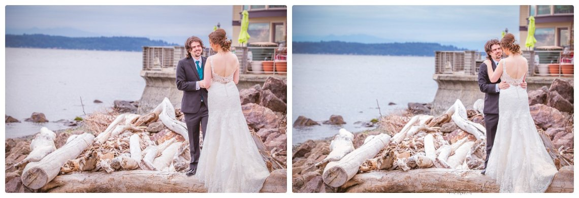Bride Groom 055 Sky full of Colors | Saltys on Alki, Seattle   Our Lady Guadalupe | Stephanie Walls Seattle Wedding Photographer