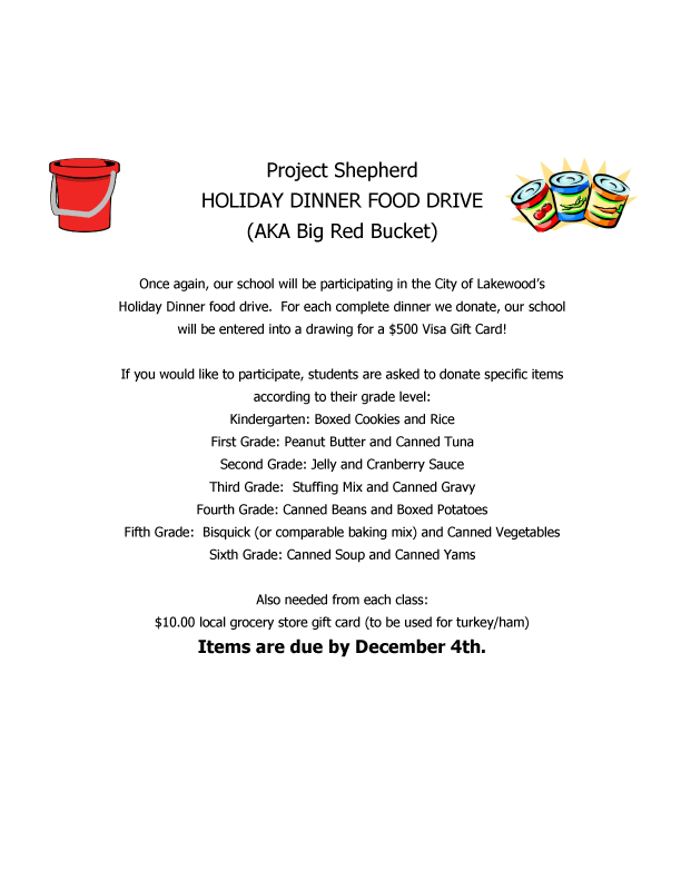 Red bucket food drive 2019