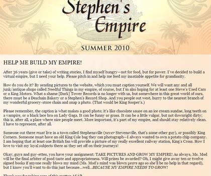 1ère lettre de Stephen King sur Stephen King's Empire