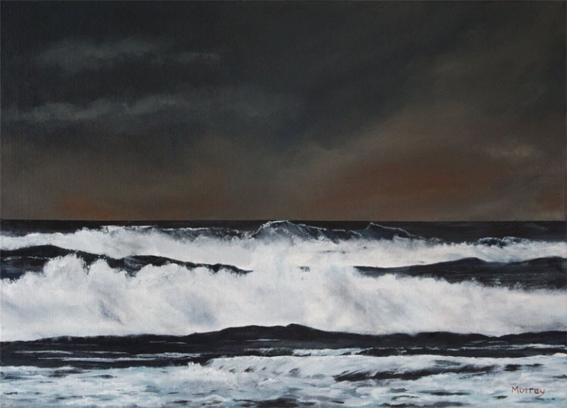 stornoway waters. Seacape painting by stephen murray art