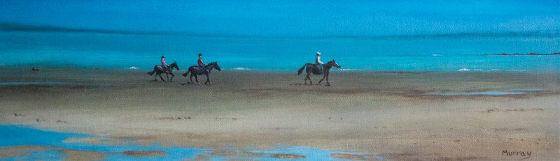 riders on Southerness beach Stephen Murray Art