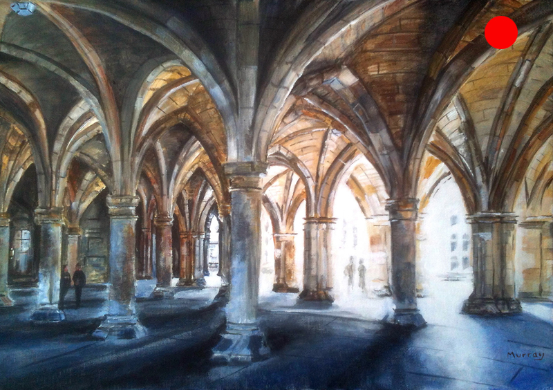 Glasgow University Cloisters. Painting by Glaswegian artist Stephen Murray