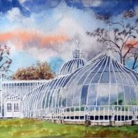 Botanic Gardens, Glasgow, Scotland. Painting by artist Stephen Murray.