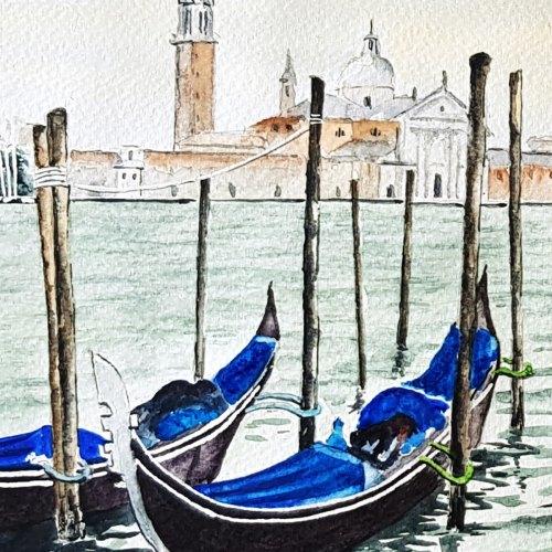 Gondolas Venice Lagoon Painting