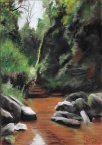 Devil's Pulpit Glen Finnich Scottish Landscape Painting