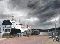 Calmac Ferry At Kennacraig, Scottish Landscape Painting