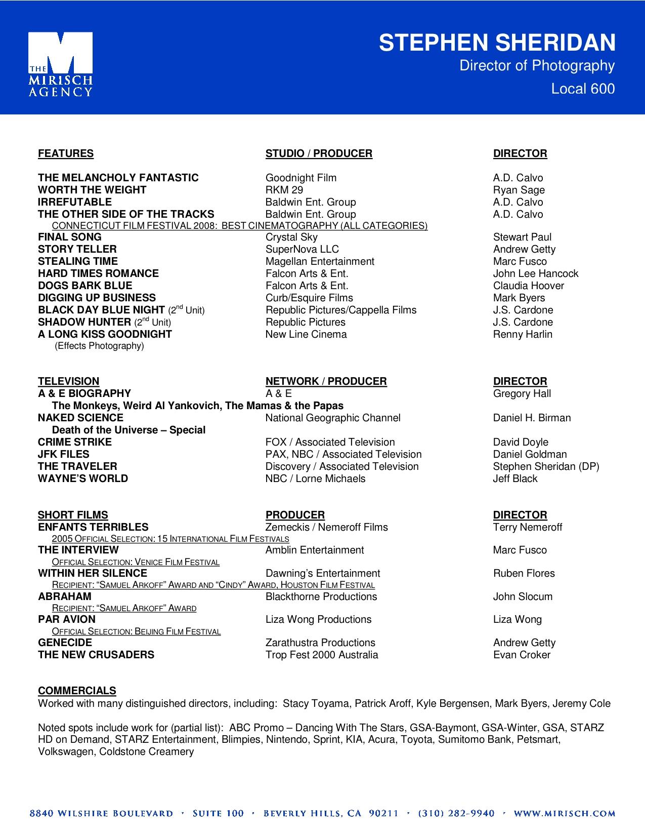 resume sample video resume filmmaker resume free video editor