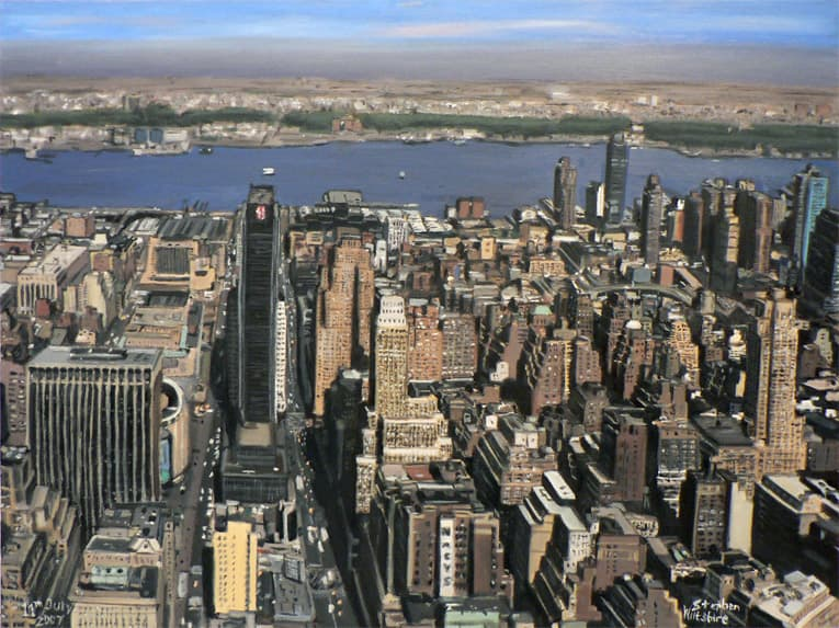 Manhattan Skyline from top of Empire State - oil on canvas - drawings and paintings by Stephen Wiltshire MBE