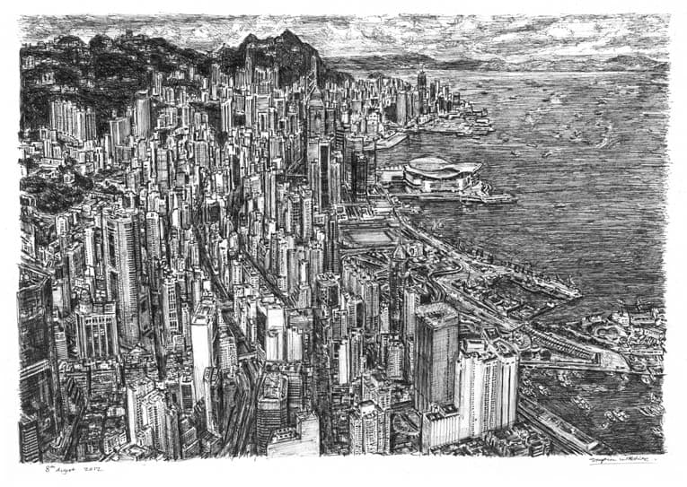 Aerial view of Hong Kong - drawings and paintings by Stephen Wiltshire MBE