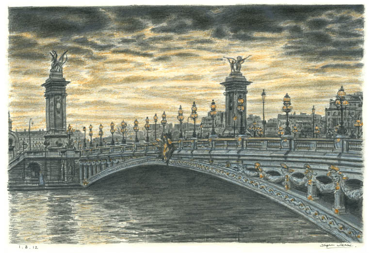 Pont Alexandre III, Paris - drawings and paintings by Stephen Wiltshire MBE