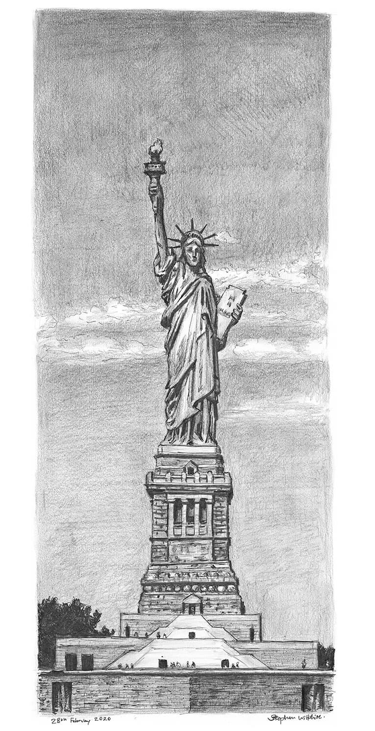 Original Artwork Of Statue Of Liberty New York