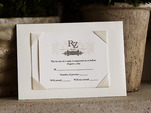 Wedding Invitation 717 White Gold Cream Smooth Majestic High Tower Antique