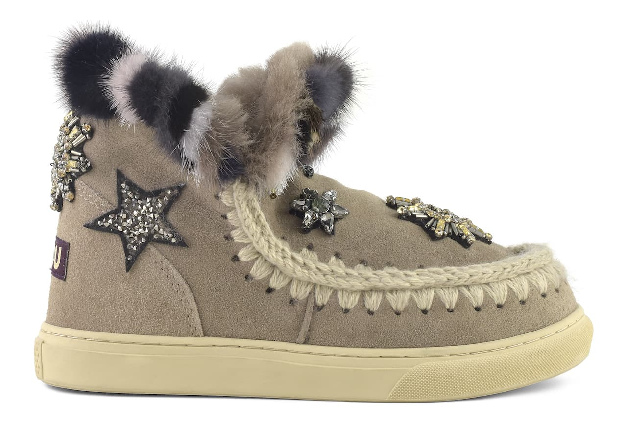 MOU - ESKIMO SNEAKERS STAR PATCHES & MINK FUR TRIM