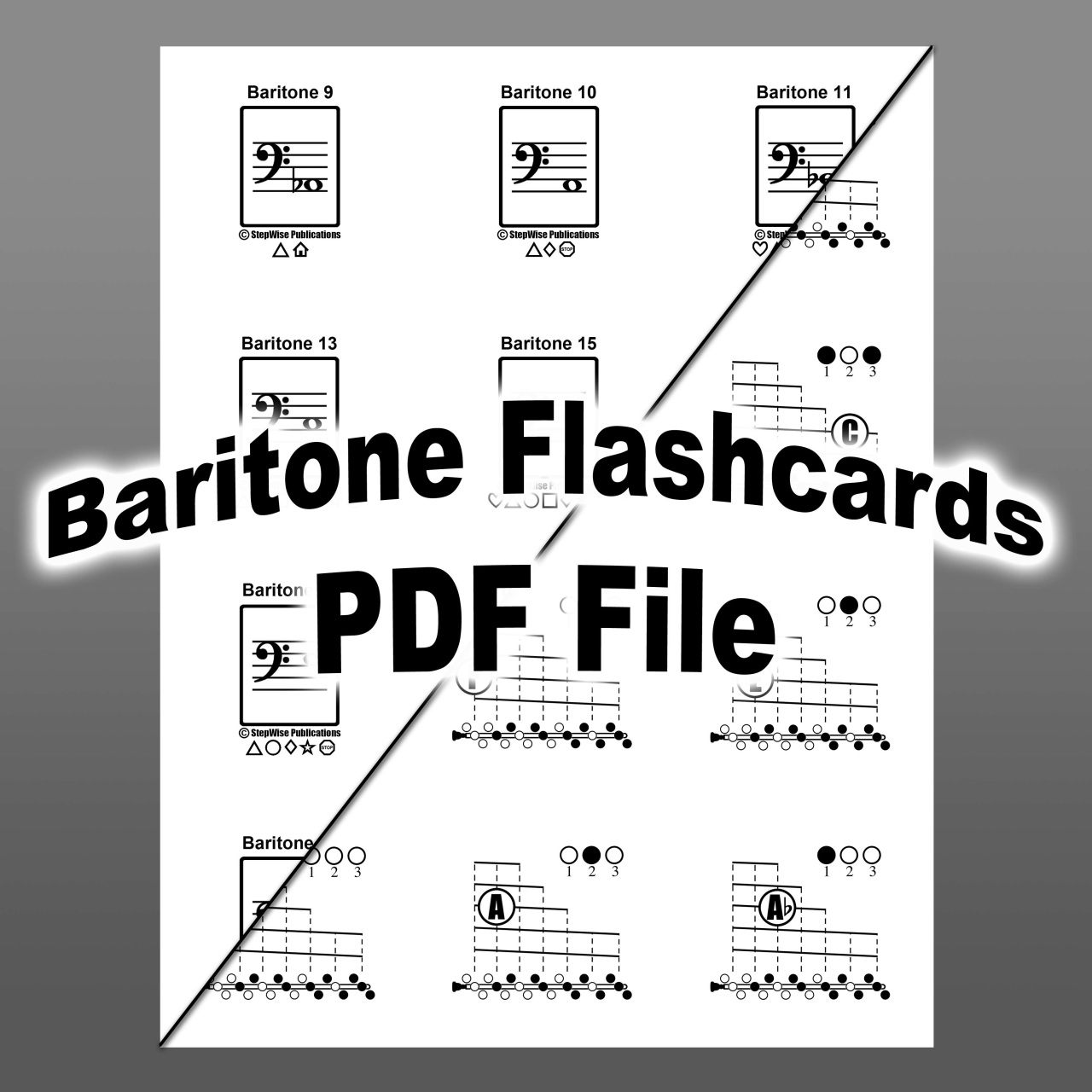 Baritone Amp Euphonium Fingering Chart And Flashcards