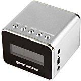 Smartfox Mini MP3-Player tragbarer Lautsprecher mit Radio, integriertem Akku und LCD-Display für alle Geräte mit 3,5mm Anschluss, silber <ul data-recalc-dims=