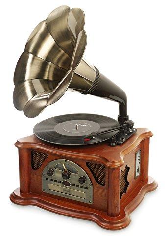 Ricatech RMC350 5-in-1 Music Center Plattenspieler mit CD-Player, Radio, MP3, USB, SD-Kartenslot
