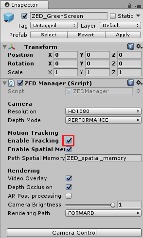 Enabling tracking in the Inspector