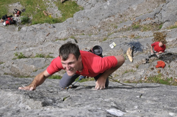 Effort showing on my face pulling on tiny crimps!