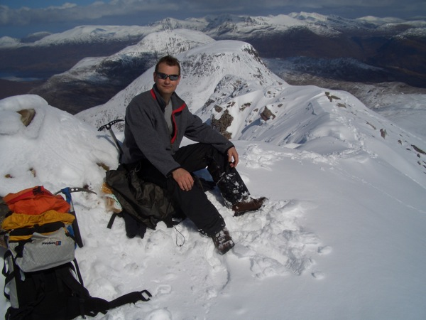 Steve on the summit of Spidean Coire nan Clach
