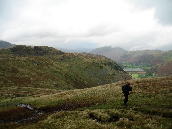 Heading up Red Screes with Little Hart Crag