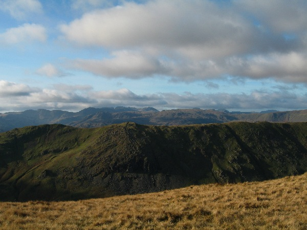 Heron Pike with the Langdales and the high fells beyond