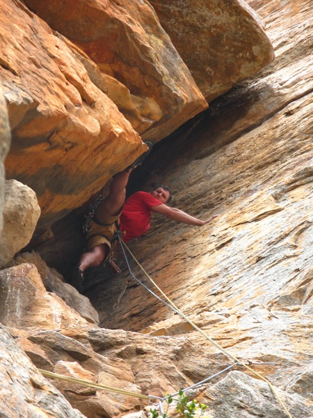Pete bridges just before the airy traverse on Skink