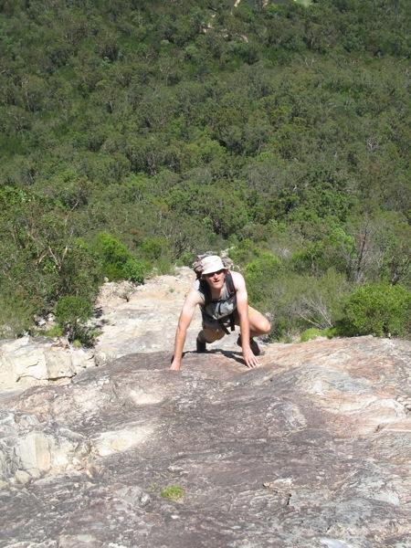 Pete on the ascent of Tibrogargan