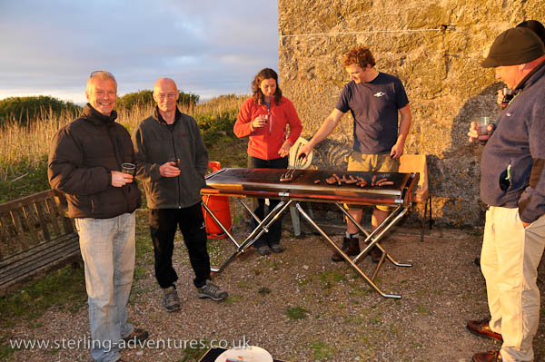 Mark, David, Laetitia, Bob, and Andy catch the last of the sun's rays at the BBQ
