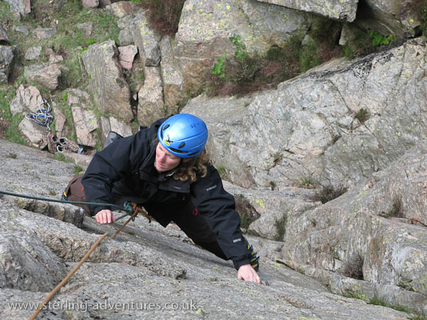 Rebecca on the first pitch of Slip Knot