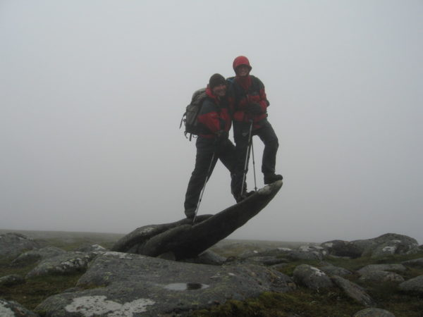 Andy and Sabiene make sure they reach the highest point of Carn A' Choire Bhaidheach (1110m)