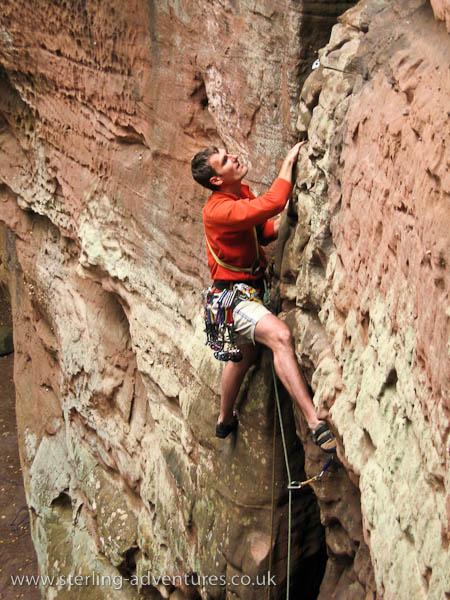 Pete climbing a UIAA 5+ classic