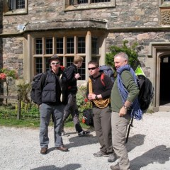 Pete, Chris, Young Dave, and Brian outside the YHA getting ready to hit the hills.