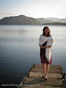 Laetitia on the jetty at Sharrow Bay looking down Ullswater