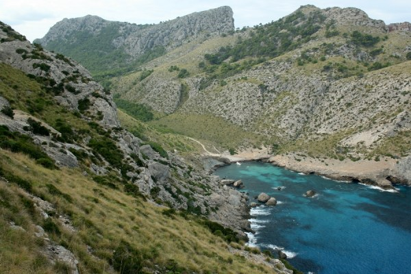 Formentor peninsula. The white dot in the bay is the shipwrecked yacht.