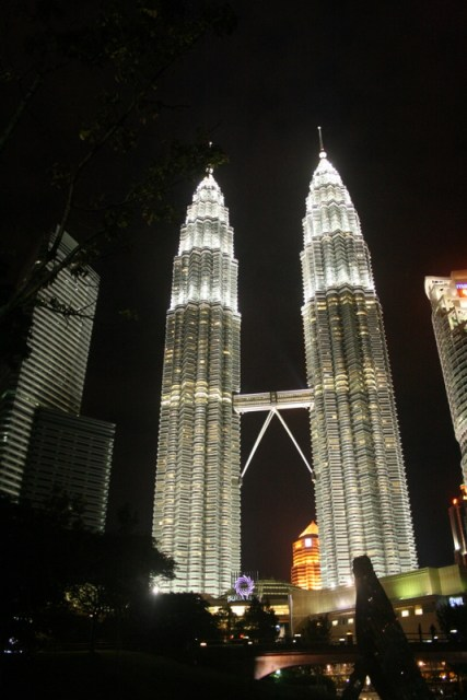 My hotel is right next to the Petronas towers, which are particularly attractive at night.