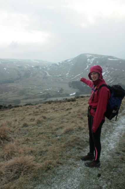 Rachel points out the Mam Tor landslide.