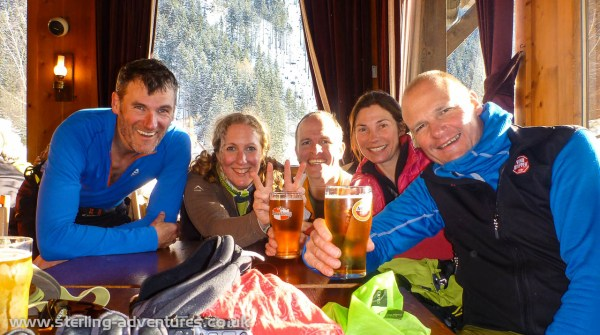 A celebratory beer in the bar at the bottom of the Les Planards ski area