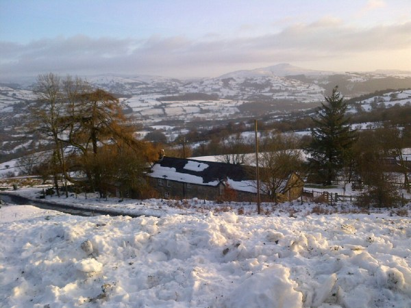 The view from Whitewalls with snow