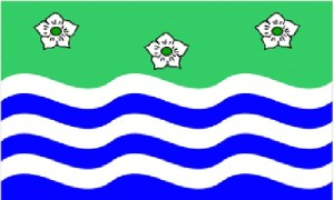 A Cumbrian flag with flowers, land, and rivers?