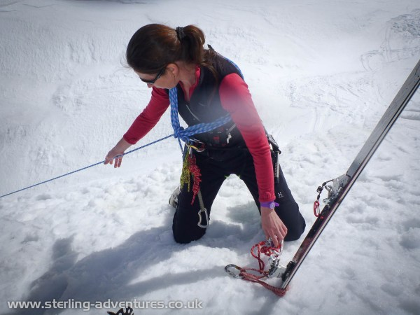 Laetitia transferring Ian's weight on to her ski belay