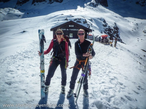 Laetitia and Chris at the Plan de l'Aiguille lift station