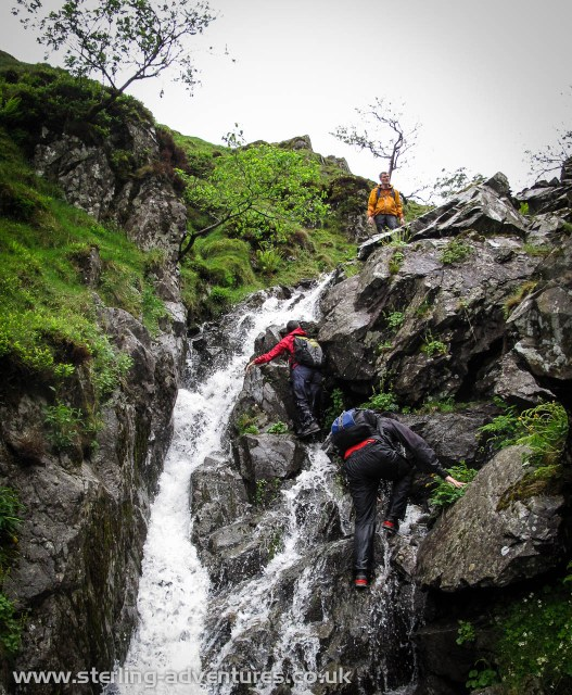 Pete, Helen, and Chris scrambling in Hoggets Gill