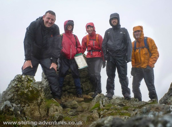 Chris, Helen, Laetitia, Chris, and Pete on the summit of Raise