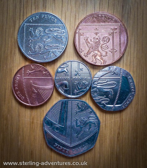 Clever!  The Royal Shield shown on the 10p, 2p, 1p, 5p, 20p, and 50p coins.