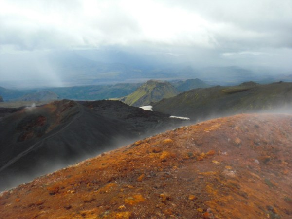 The steaming summit of Magni, with Mothi behind.