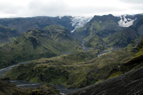 The rugged landscape to the West of Thorsmork, with glaciers spilling down from Myrdalsjokull.