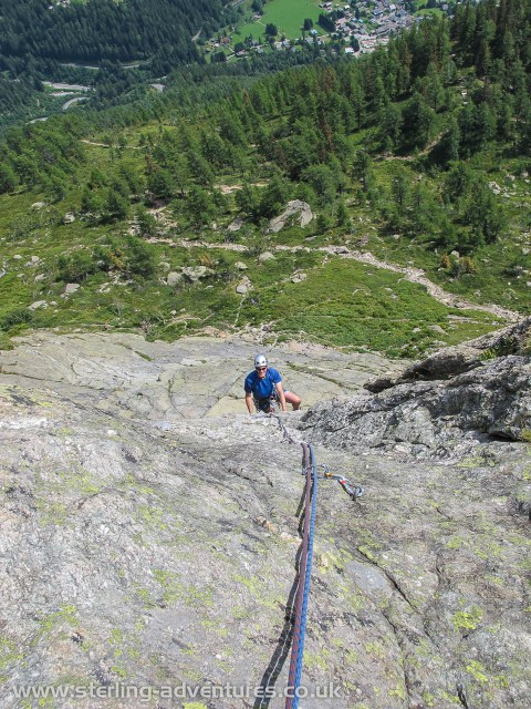 Pete following Laetitia on one of the many excellent routes at Cheserys
