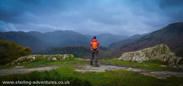 Extremely moody weather over the central fells from Castle Crag