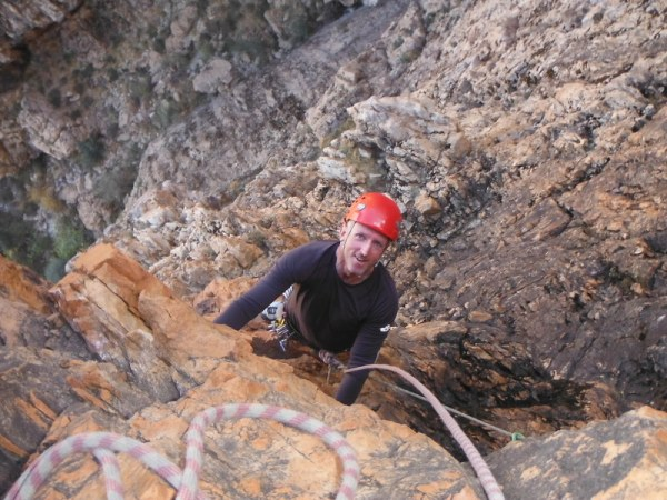 Adrian climbing Saladin